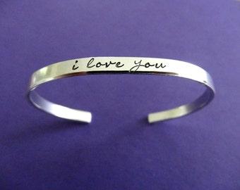 I Love You Bracelet - I Love You Cuff - 1/5 inch cuff