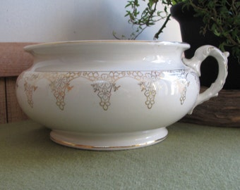 Chamber Pot White and Gold Porcelain Lotus Ware Antique Commode Florist Ware Planters and Pots Succulent Planter