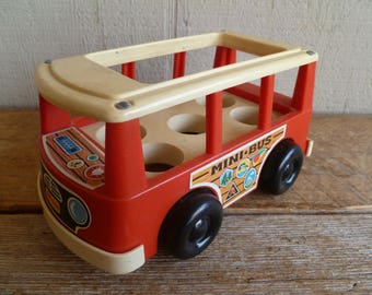 Vintage  Fisher Price   Little People Bouncng Mini Bus    1969