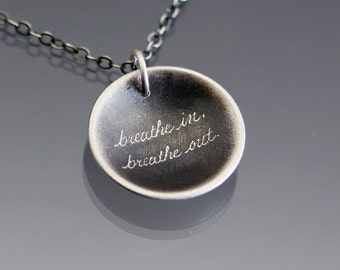 Sterling Silver Breathe In, Breathe Out Necklace
