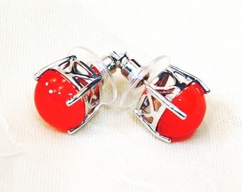 Carnelian Stud Earrings In Platinum Handmade Jewelry By NorthCoastCottage Jewelry Design & Vintage Treasures