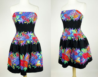 1980s strapless black dress, tropical neon floral dress, fit and flare A.J Bari petite cotton dress, small