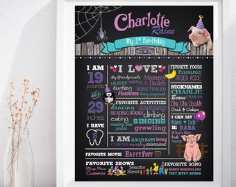Charlotte's Web First Birthday Custom Chalkboard Poster Sign