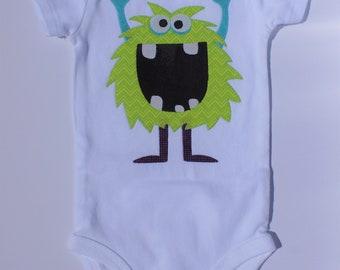 Applique Baby Onesie 6M Green Alien/Monster