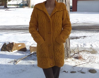 Long Golden Yellow Mock Cable Cardigan, New Handknit, Cozy, Two Front Pockets, Toggle Buttons, Easy Care Machine Wash, Autumn, Honey, Small