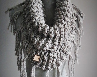 Tassel Me Cowl - scarf with fringes, fringed scarf, tassel scarf, cowl with tassels, knit scarf, knit poncho, poncho, chunky knit cowl