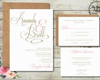 Blush and Champagne - Wedding Invitation - Digital