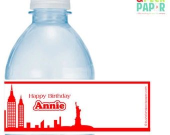 NYC Annie Party #Personalized #Bottle #Labels