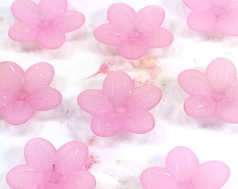 Flower Beads, Acrylic Daisy, 20x5mm, PINK Color, Five Petal Bead Caps, Transparent, Frosted, 1.5mm hole, Lot Size 25 to 100, #1252
