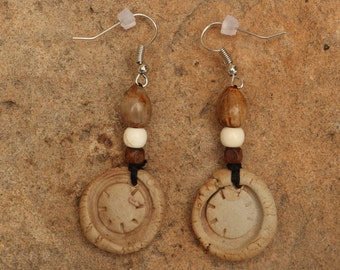 Stoneware Clay Earrings with circle texture, wood beads and Job's Tear seeds.