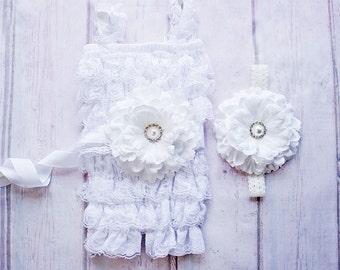 Lace Romper, White Lace Romper, Baby Romper, Lace Romper, Newborn Romper, White Baptism Outfit, White Christening Outfit, Baptism Outfit