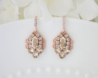 Rose gold wedding earrings, Swarovski crystal drop earrings, Rhinestone bridal earrings, Rose gold bridesmaid jewelry, Mother of the bride