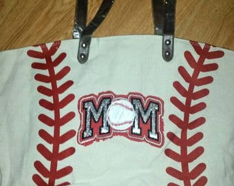 Baseball mom tote, baseball tote, baseball tote bag, baseball mom, baseball bags