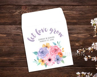 Boho Wedding Wedding Favors Let Love Grow Flower Seeds Seed Packet Seed Packet Favor Wedding Favor Seed Packet Seed Favor x 25