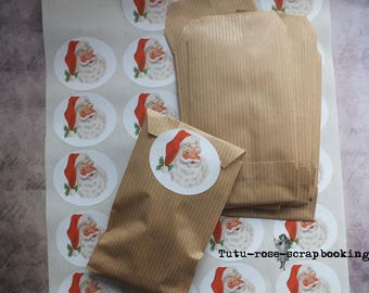 Kit packaging creative mind RETRO 25 bags kraft 7 cm x 12 cm and 25 stickers Father Christmas VINTAGE hand made advent calendar