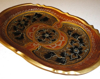 Italian Wood Toleware Tray, Hand Carved Gold Gilt Tray, Oval Tray, Floral Design, Scalloped Edge, Florentine Tray,