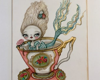 Marie Antoinette tea cup mermaid cupcake girl art painting mixed media art mermay