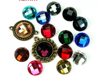 Mirror Glass Cabochon Cab Round 12mm Checker Cut Faceted Dome -Pick Your Colors- 8pcs