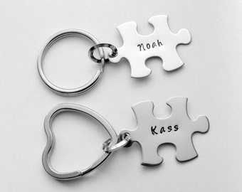 Puzzle piece key chain set - Jigsaw puzzle piece key ring - His and hers key chain  - ONE name on each