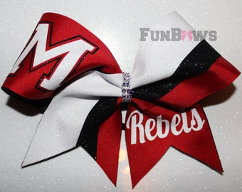Custom Cheer School Team Glitter Hairbow  by FunBows !!