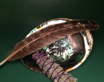 Lg. Smudge Kit, Metaphysical Cleansing,Lg Abalone Shell,Healing Kit, Incensing, White Sage ,Cedar, Full Smudge Kit,White Sage,Lavender