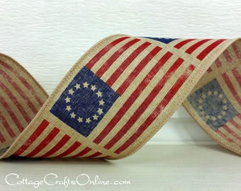 """Wired Ribbon, 2 1/2"""" Red, White, Blue, Early American Flag Print, TEN YARD ROLL, """"Betsy Ross Tan"""" Patriotic July 4th Prim Wire Edged Ribbon"""