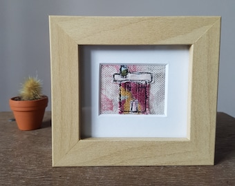 Teeny Tiny Free Motion Embroidery Framed House/ Home - Pink