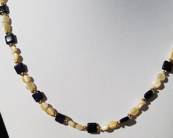 Blue Goldstone with Mother of Pearl