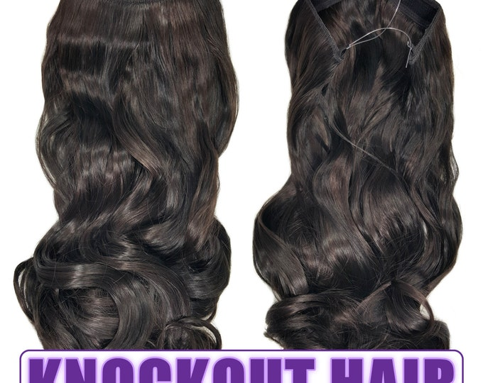 "Fits like a Halo Hair Extensions 20"" - 150 Grams 100% Premium Fiber Wavy Hair (Dark Chocolate Brown #04L)"