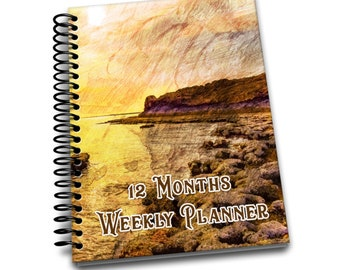12 Months Weekly Planner: Undated Weekly Planner | 2 pages per week | Notes | Beach Sunrise