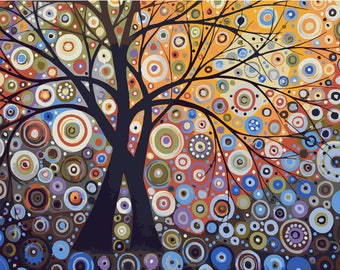 Abstract Tree Paint by Number Kit