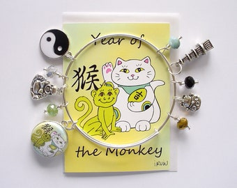 Maneki Neko Year of the Monkey Expandable Stackable Bangle Charm Bracelet with ACEO Card