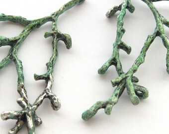 2 Vintage Aged Silver Tone Branch Charms, 56 mm, Verdi Gris Tree Branch Charms, Nature Plant Woodland Charms, Earring Charms, Bead Destash