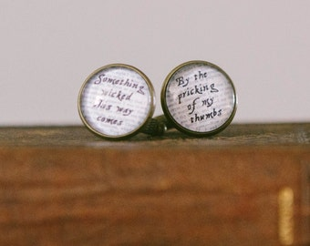 Librarian Gift - Macbeth Cuff Links - Something Wicked This Way Comes - Shakespeare Quote Cufflinks - Bookish Gift - Unique Gifts For Him