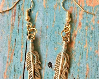 FEATHER Earrings Light Green Patina over Gold Pewter Dangle Pierced
