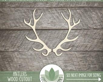 Wood Antler Shape, Unfinished Wood Antlers Laser Cut Shape, DIY Craft Supply, Many Size Options, Blank Wood Shapes