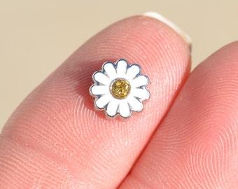 1 Memory Locket White Daisy Flower Charm   FL419
