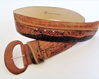 Brown Leather Wide Belt, Womens Leather Belt, Leather Buckle Belt, Vintage 80s Genuine Leather Belt, Made in Germany
