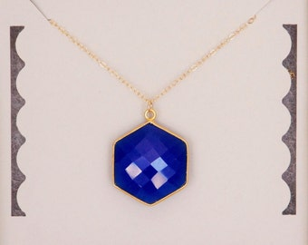 Blue Chalcedony Necklace, Iris Blue, Gold filled, Geometric Necklace, 24K Hexagon Necklace, Bridesmaid Gift, Birthday Gift