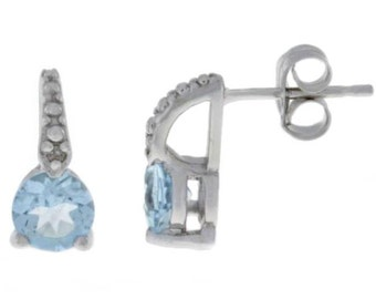 1 Ct Natural Aquamarine & Diamond Stud Earrings .925 Sterling Silver Rhodium Finish