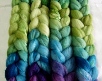 Ultra soft merino wool & silk roving, handpainted, for handspinning and wet felting, 3.5oz/100g