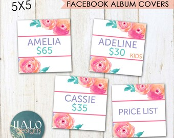 LLR Pink Flowers Facebook Album Covers - Instant Download