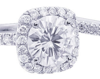 14k white gold round cut moissanite and diamond engagement ring and band Bridal Wedding Halo Natural Diamonds 2.52ctw