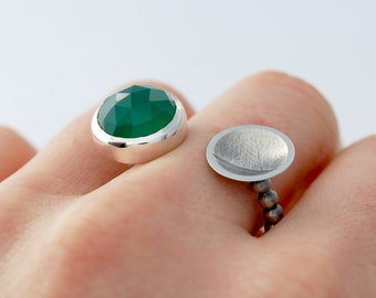 Open face ring sterling silver green agate cabochon fern print open ring