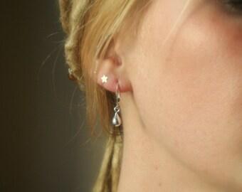 Sterling Silver Teardrop Earrings - Small Earrings - Simple Silver Earrings - french wire or leverback
