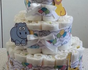 3 Tier Circus Zoo Chevron Diaper Cake Baby Shower Centerpiece Boy Girl
