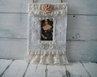 french country mixed media collage lace hang tag lace collage french lady collage shabby decor cottage chic victorian style canvas art 9x6