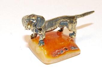 Amber Souvenir Brass Figurine On Baltic Amber Dachshund