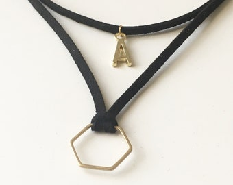 Black Wrap Initial Hexagon Choker, Adjustable Leather mahogany Suede Chocker, Double Necklace, Custom Letter and Honeycomb
