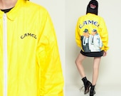 Tyvek Jacket CAMEL CIGARETTES 90s Windbreaker Camel Joe Smoker Thin Plastic Coat Bright Vintage Hipster Smoking Yellow Extra Large XL